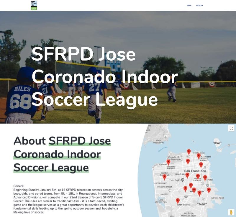 sports league website with map of venues
