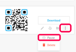 Process of pausing an active Dyanmic QR Code in a QR Code Generator Pro account.