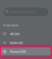 Location of paused QR Codes in a QR Code Generator Pro account.