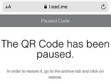 Notification that a scanned QR Code has been paused.