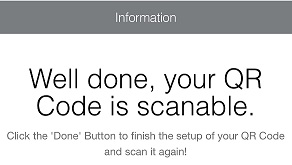A service message after scanning a delted QR Code.