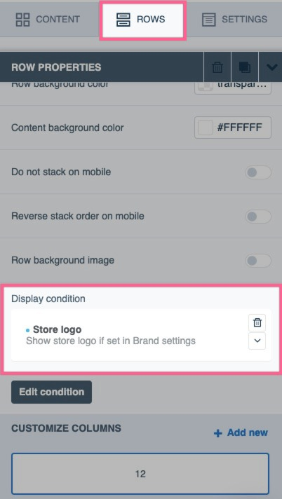 How to check for a display condition on a row