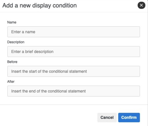 Add a new display condition modal window