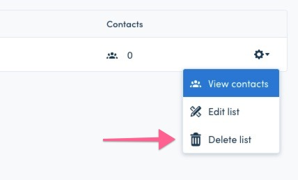 delete list from Contacts > Lists