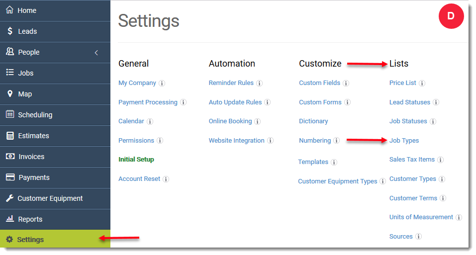 on the job types page look at the show to customer column screenshot e to see which types of jobs are visible to your customers