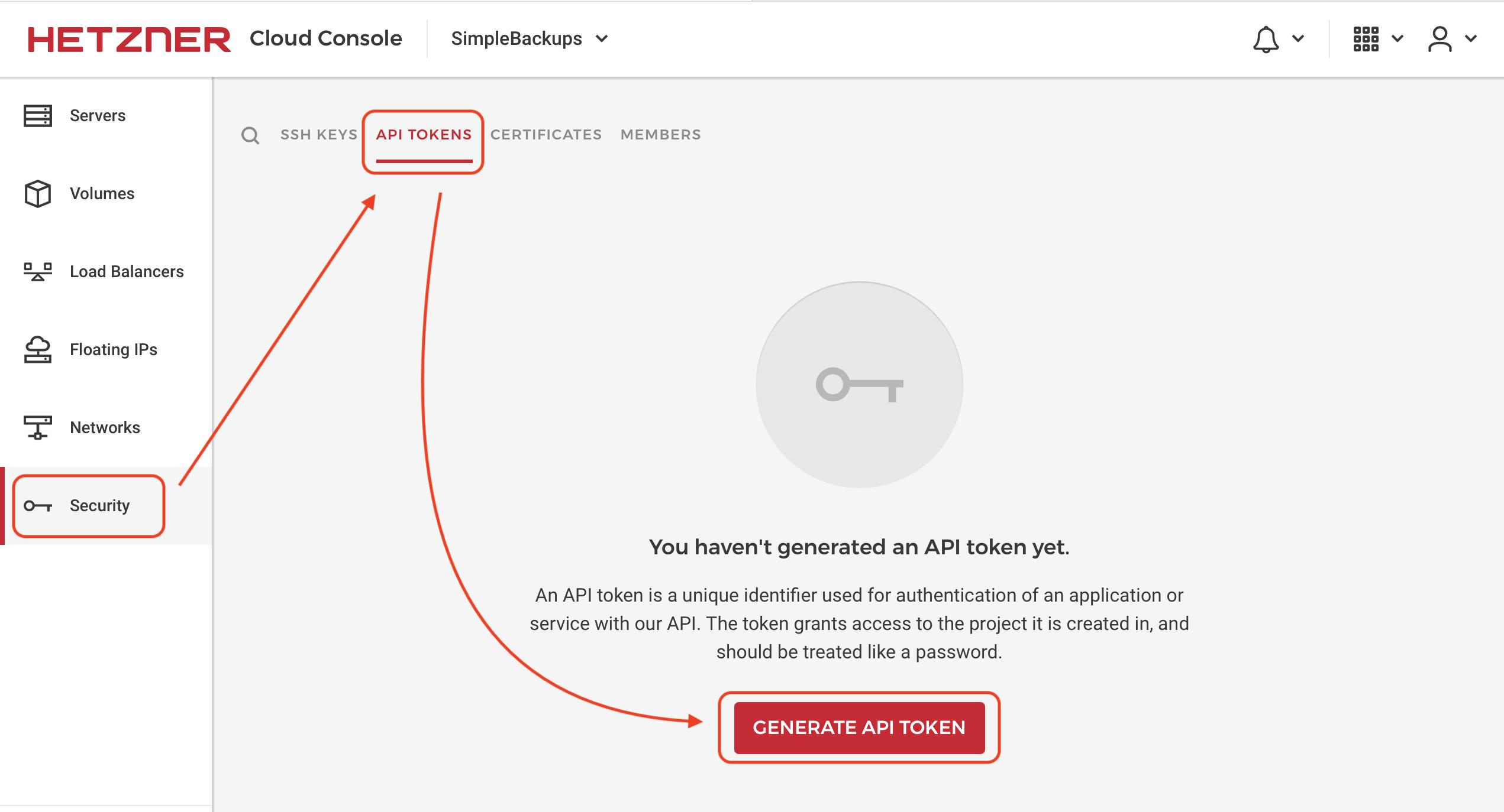 SimpleBackups Hetzner Create API Token Credentials Step1