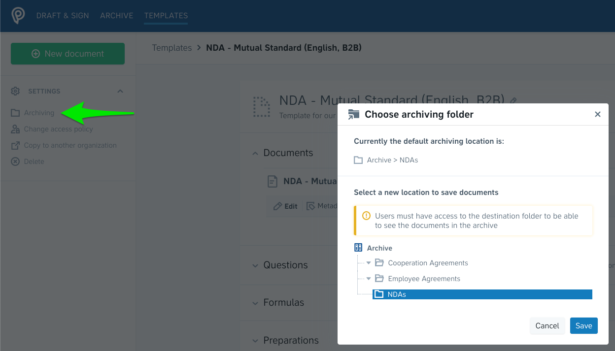Setting a default archiving folder for templates in Precisely