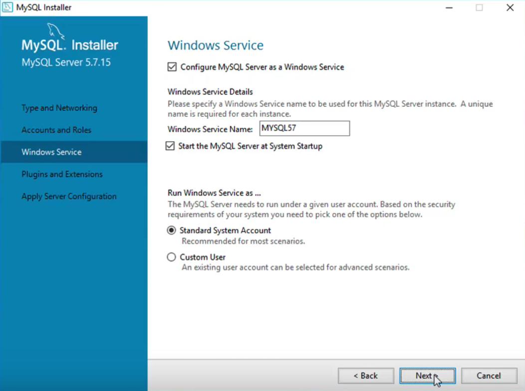 MySQL Windows service.