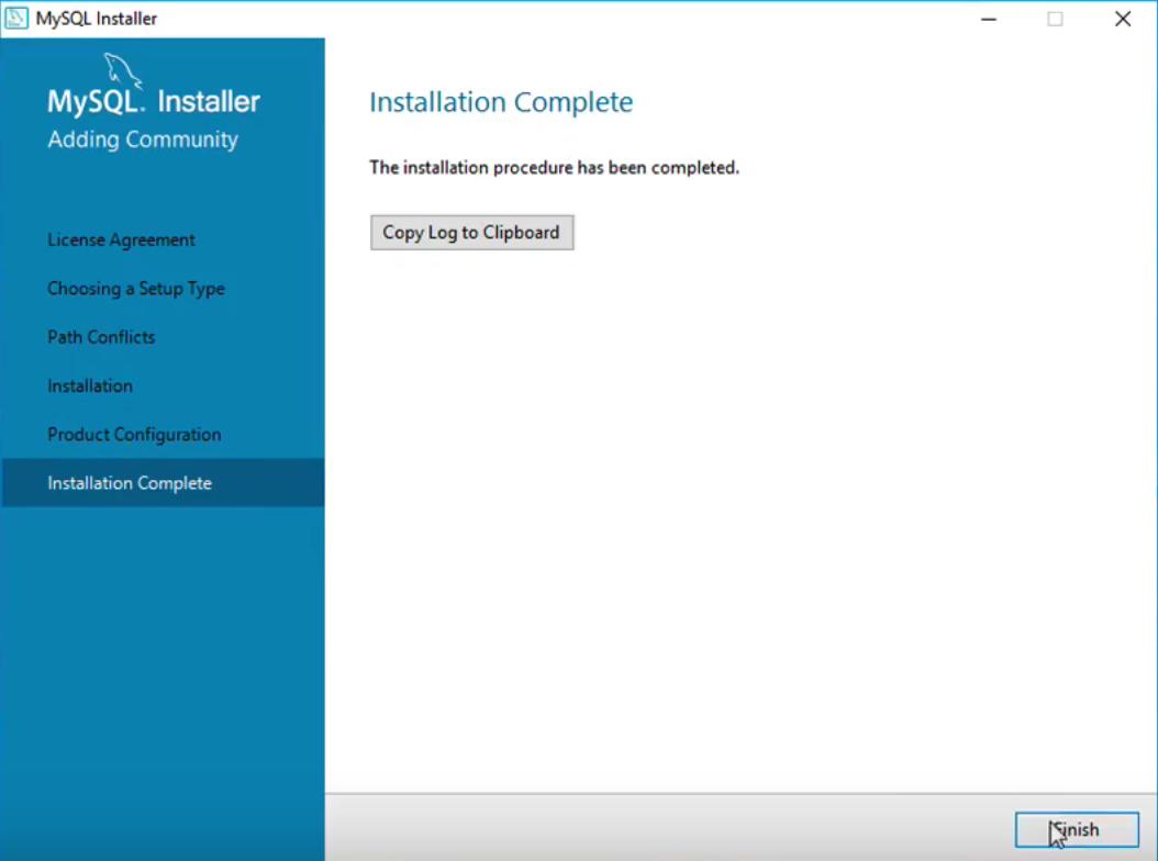 MySQL install complete.