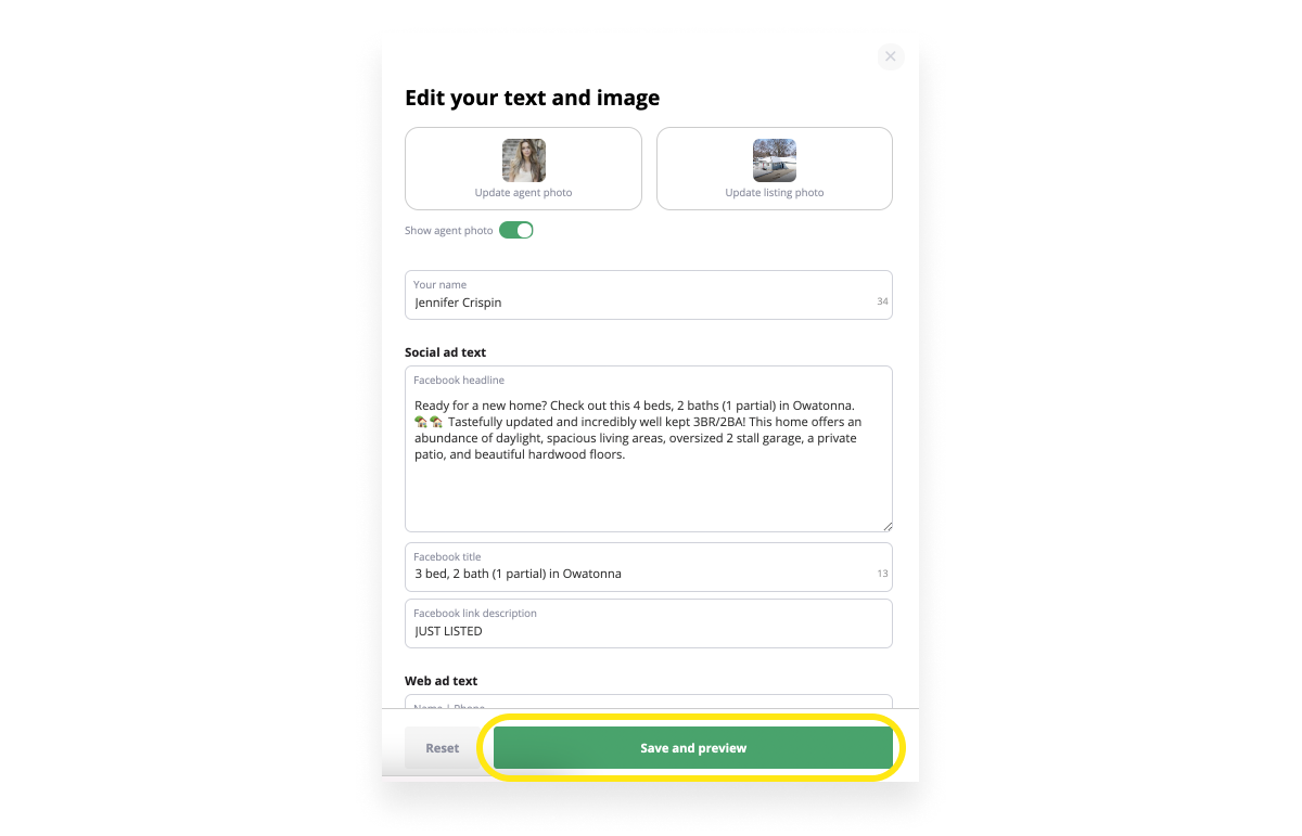 ad text and image choices