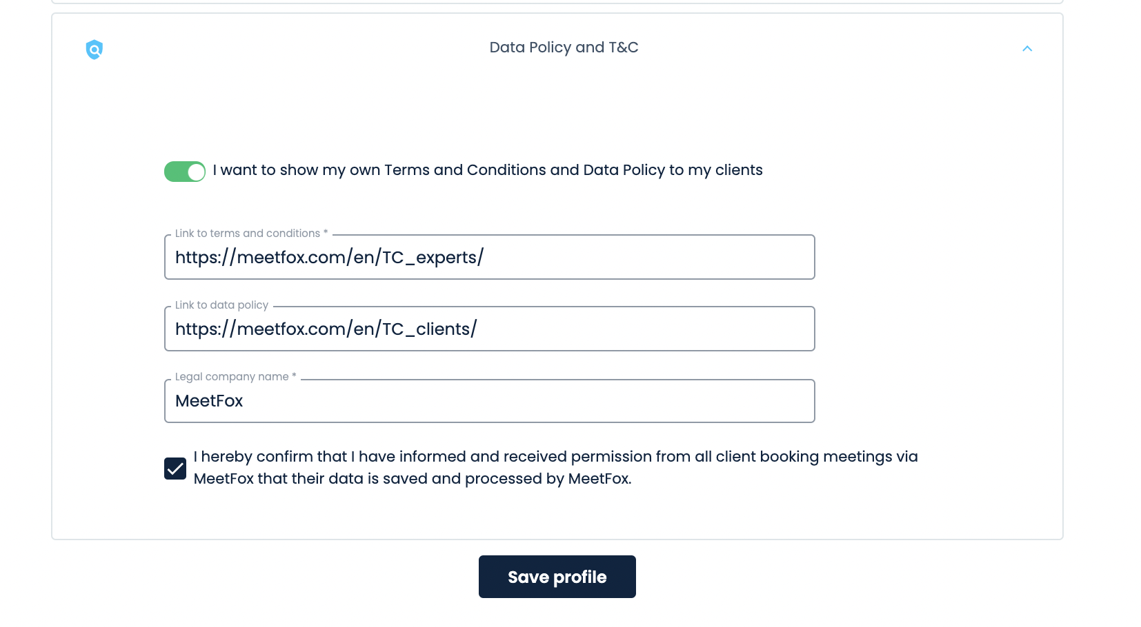 Add data policy and terms and conditions to MeetFox