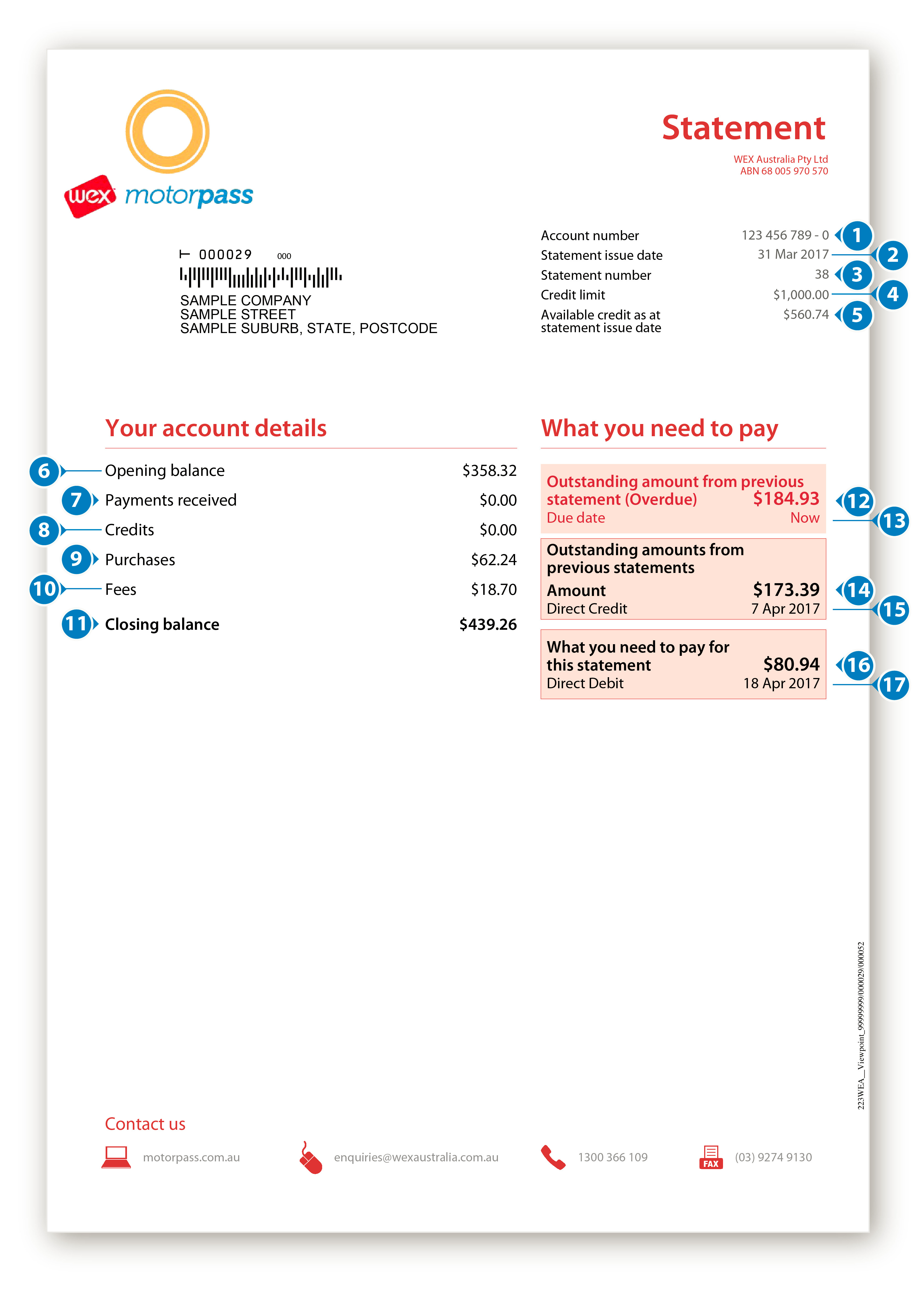 WEX Motorpass Paper Statement Example - Account Details and What You Need to Pay