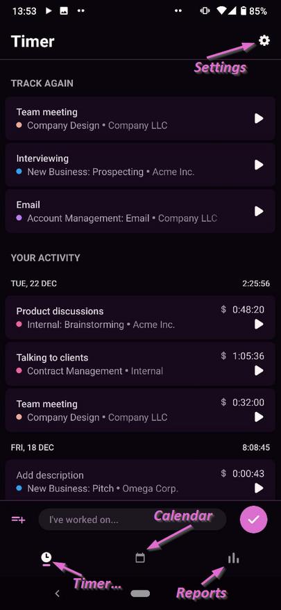 Toggl Track mobile app screen