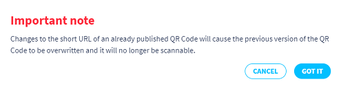 Important note pop-up about changing the short URL of an already published QR Code