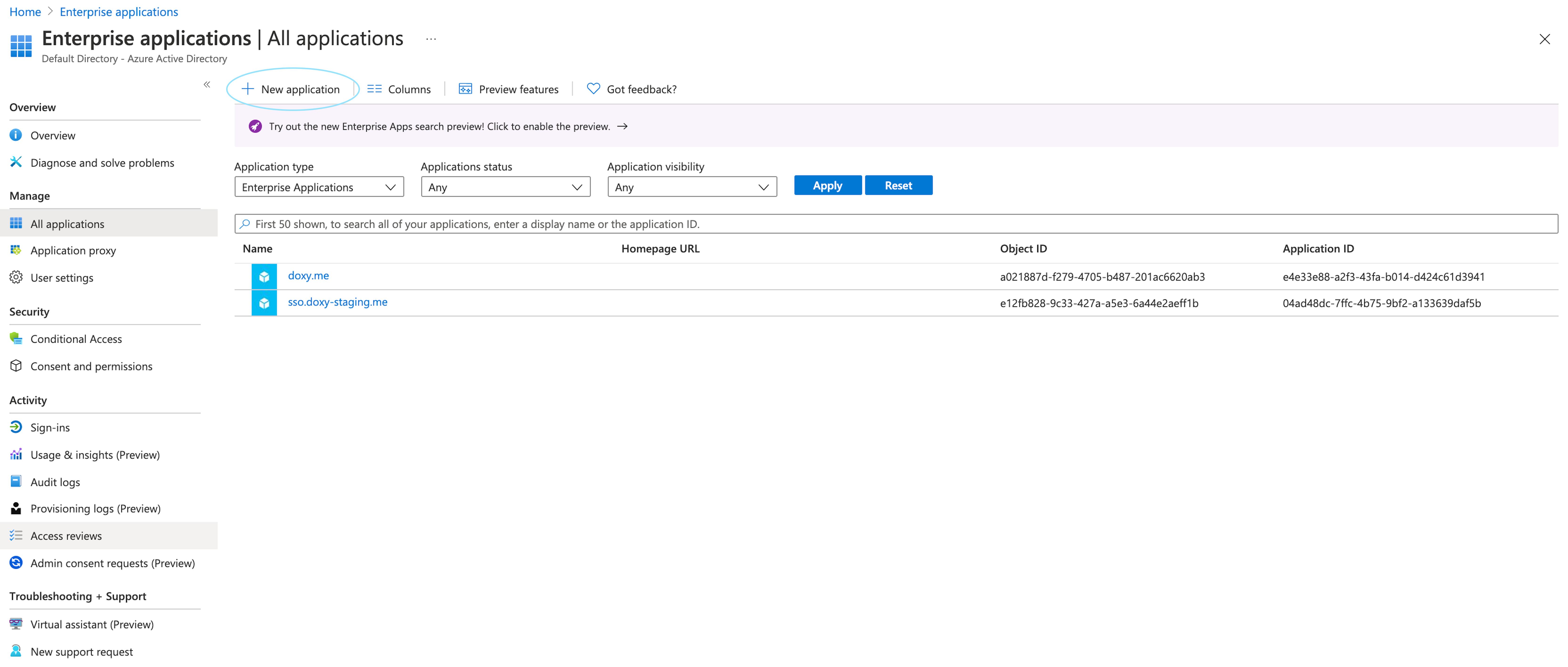 Enterprise Applications tab