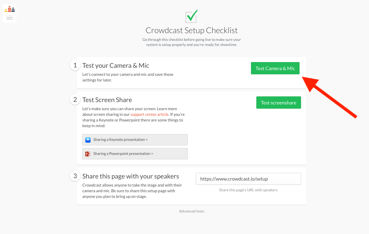 Crowdcast Setup Checklist page showing the option to test your camera and mic.