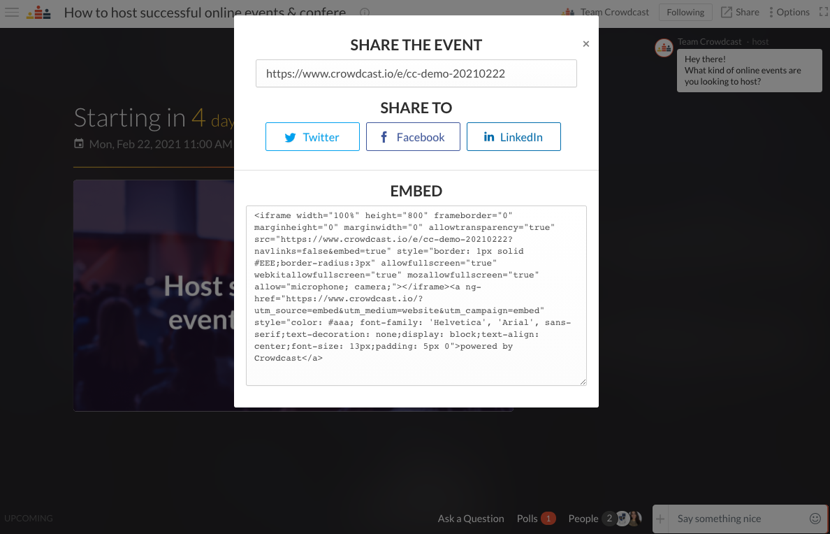 Pop-up with several options of how you can share the event. Via URL, Twitter, Facebook, LinkedIn and embed method.