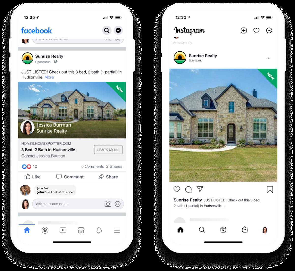Facebook and Instagram ads displayed on phones