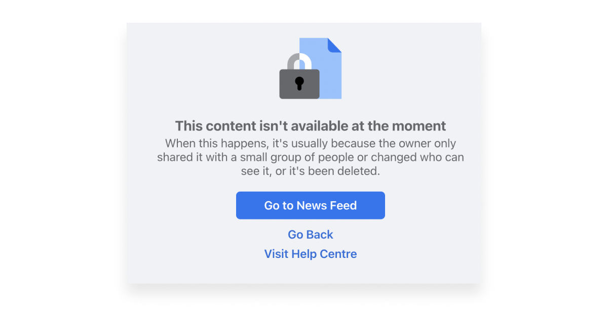 Facebook error message