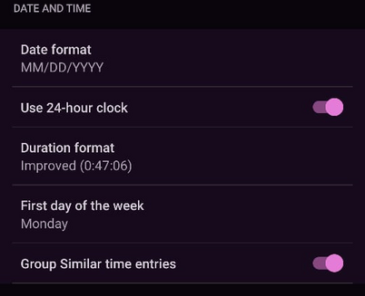 Settings - Date and Time