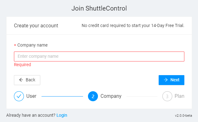 ShuttleControl sign up step 2