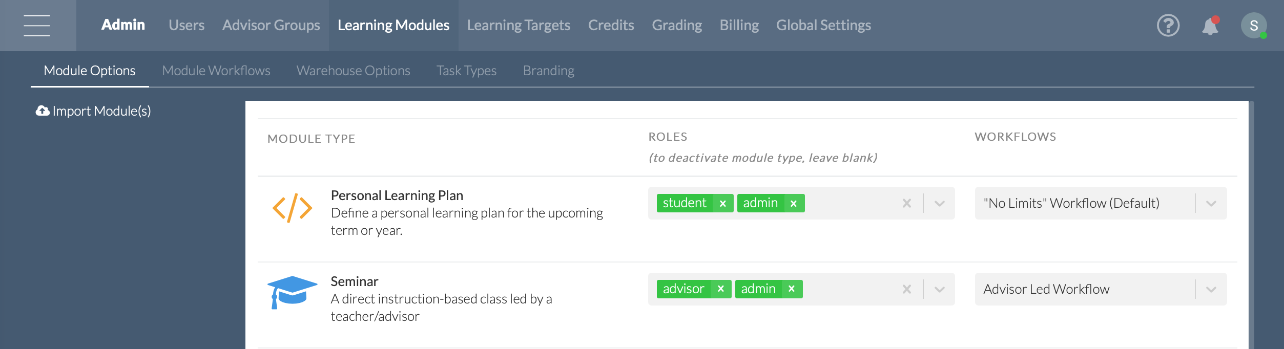 ADMIN > Learning Modules > Module Settings