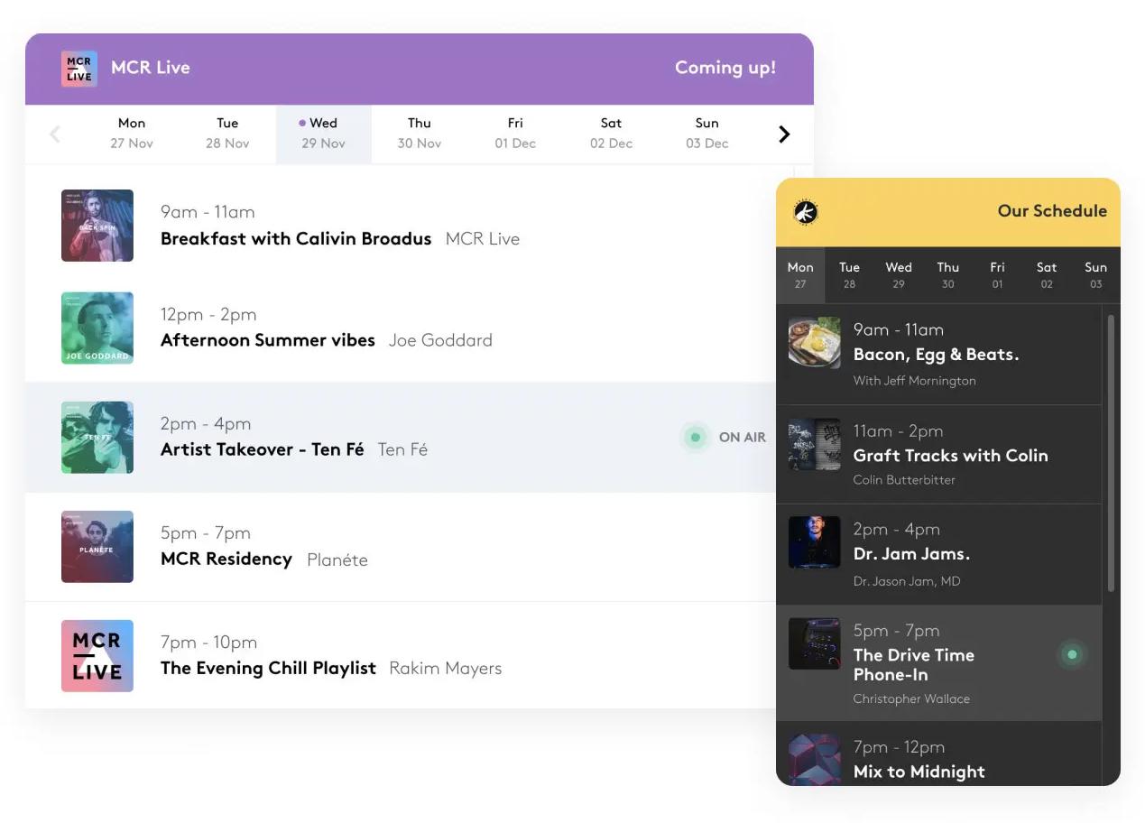 Radio schedule widgets embeddable on your website.
