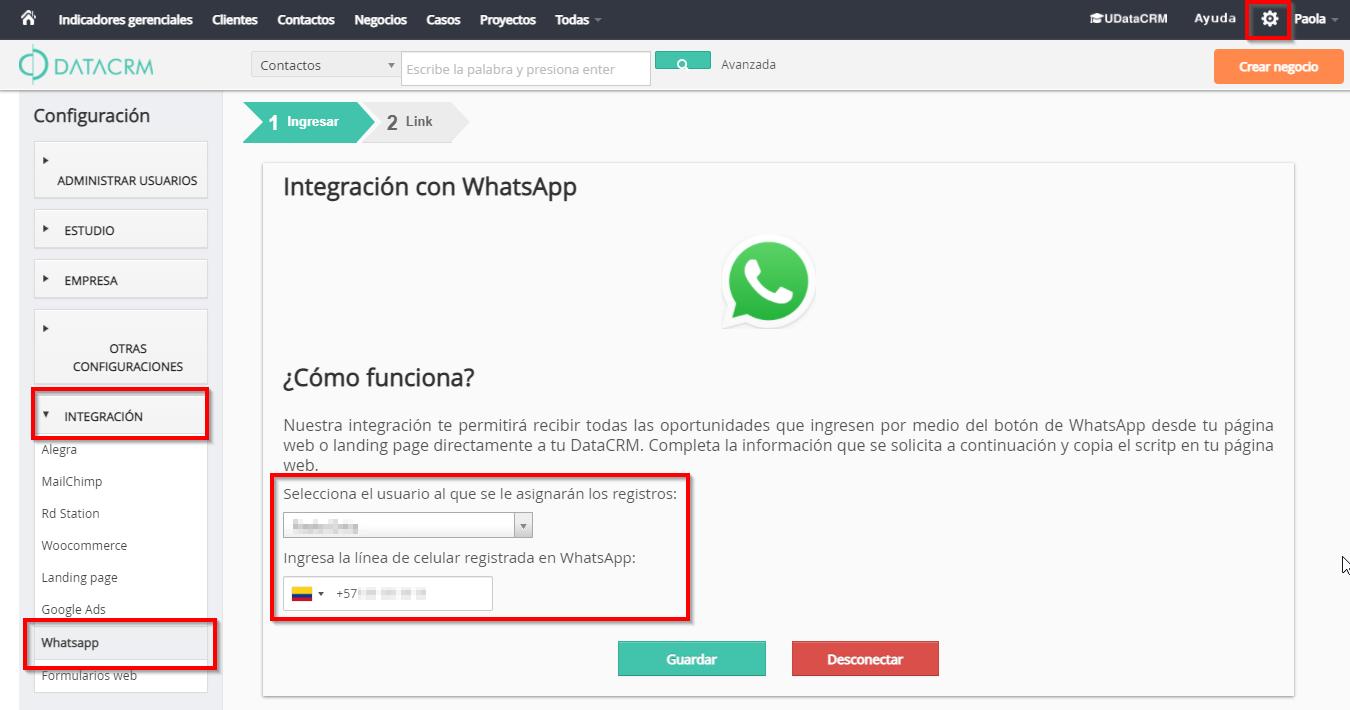Paso 1 configuración whatsapp