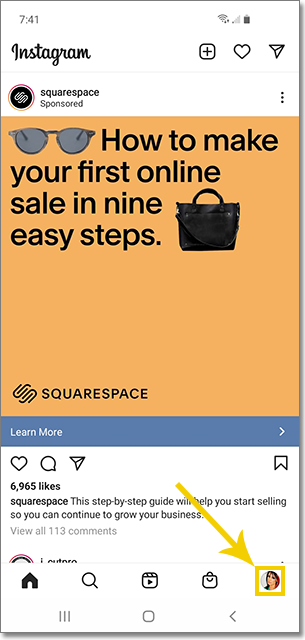 Image points to the profile icon on the Instagram mobile app