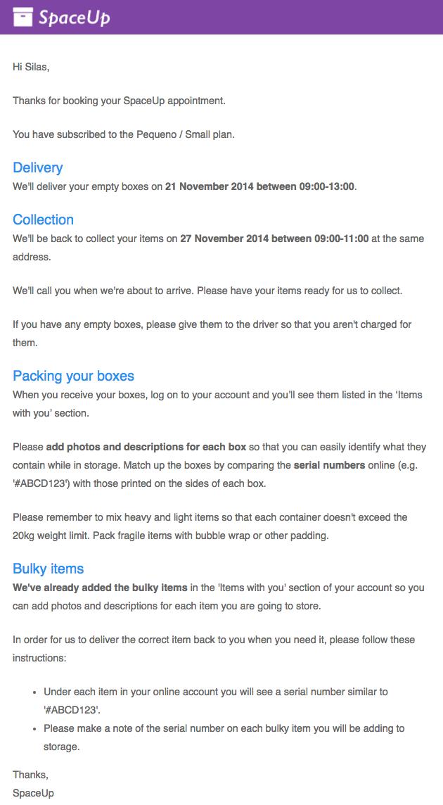 Valet order confirmation email
