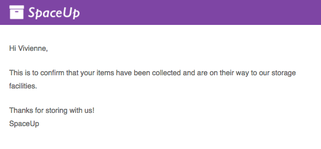 Items collected email