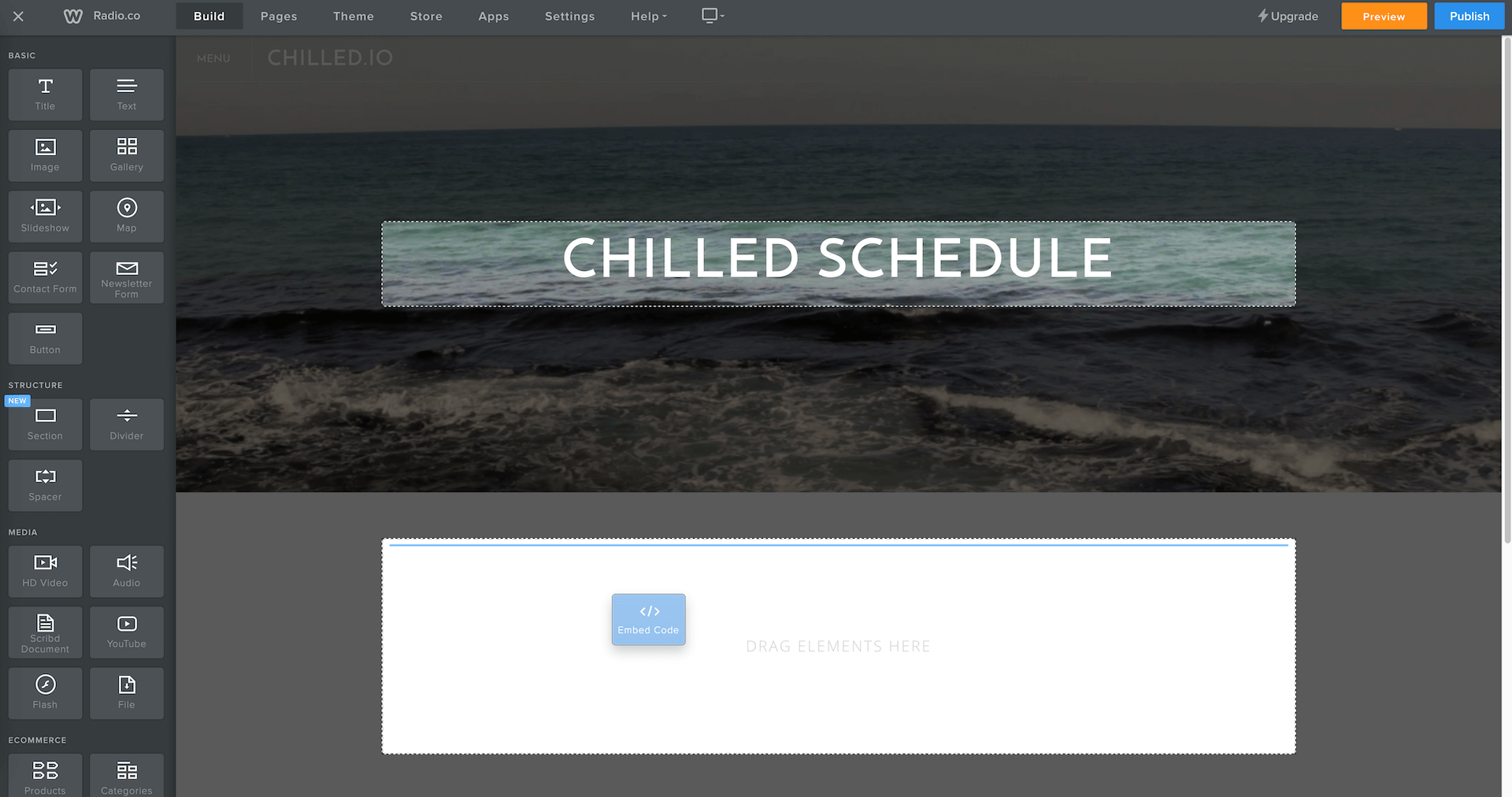 Embed block being added to Chilled.io.