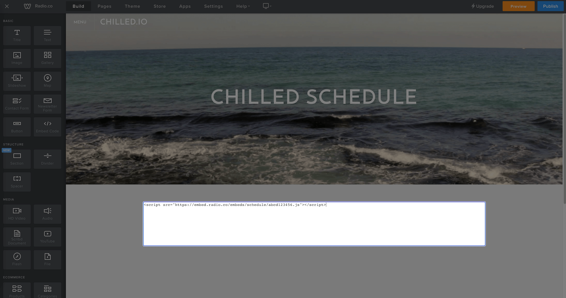 Chilled.io code being embedded on website.