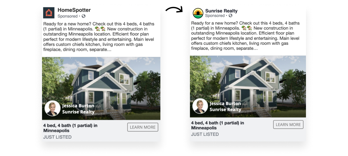 before and after connecting Facebook page ad