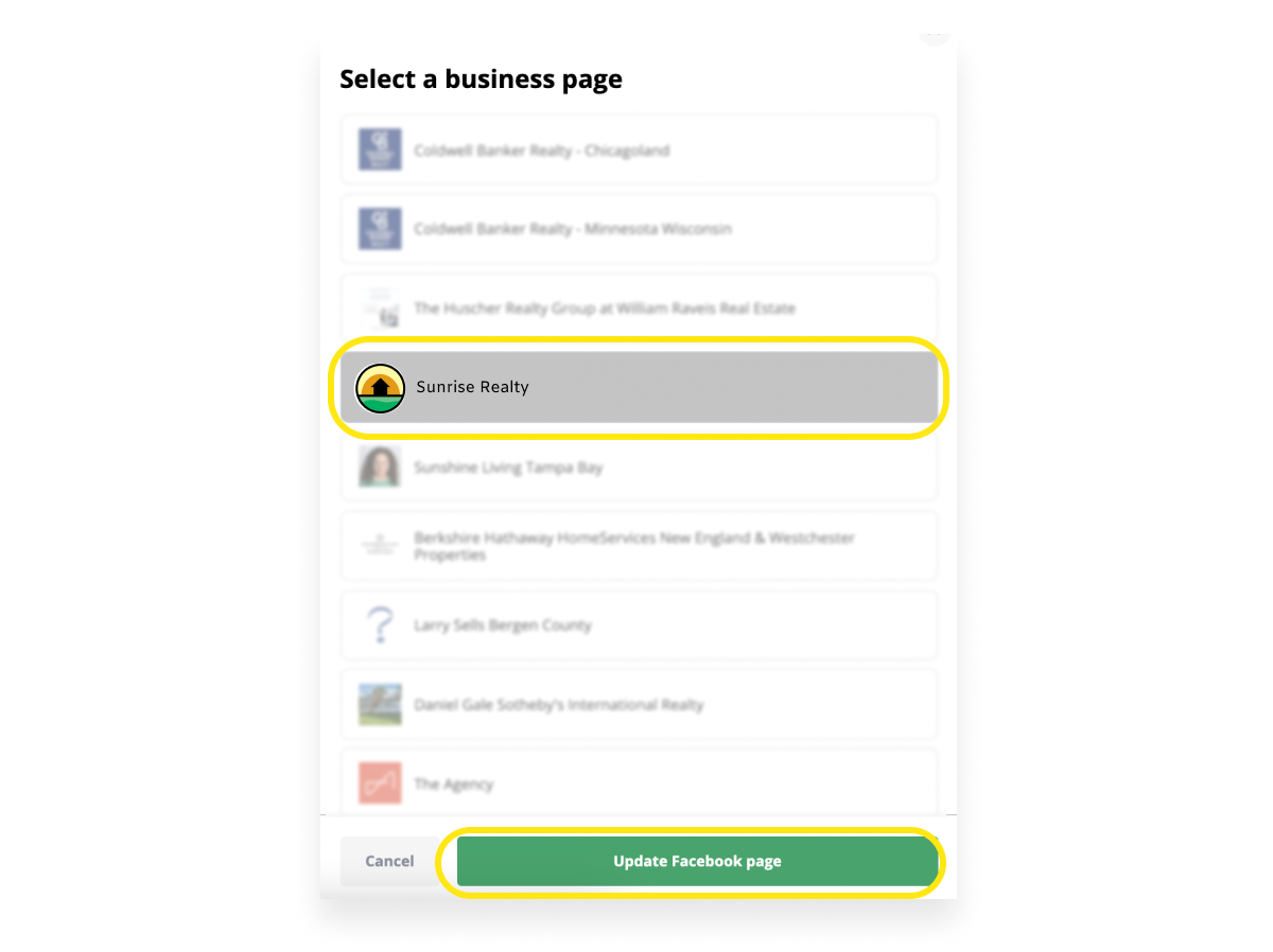 Facebook business page options