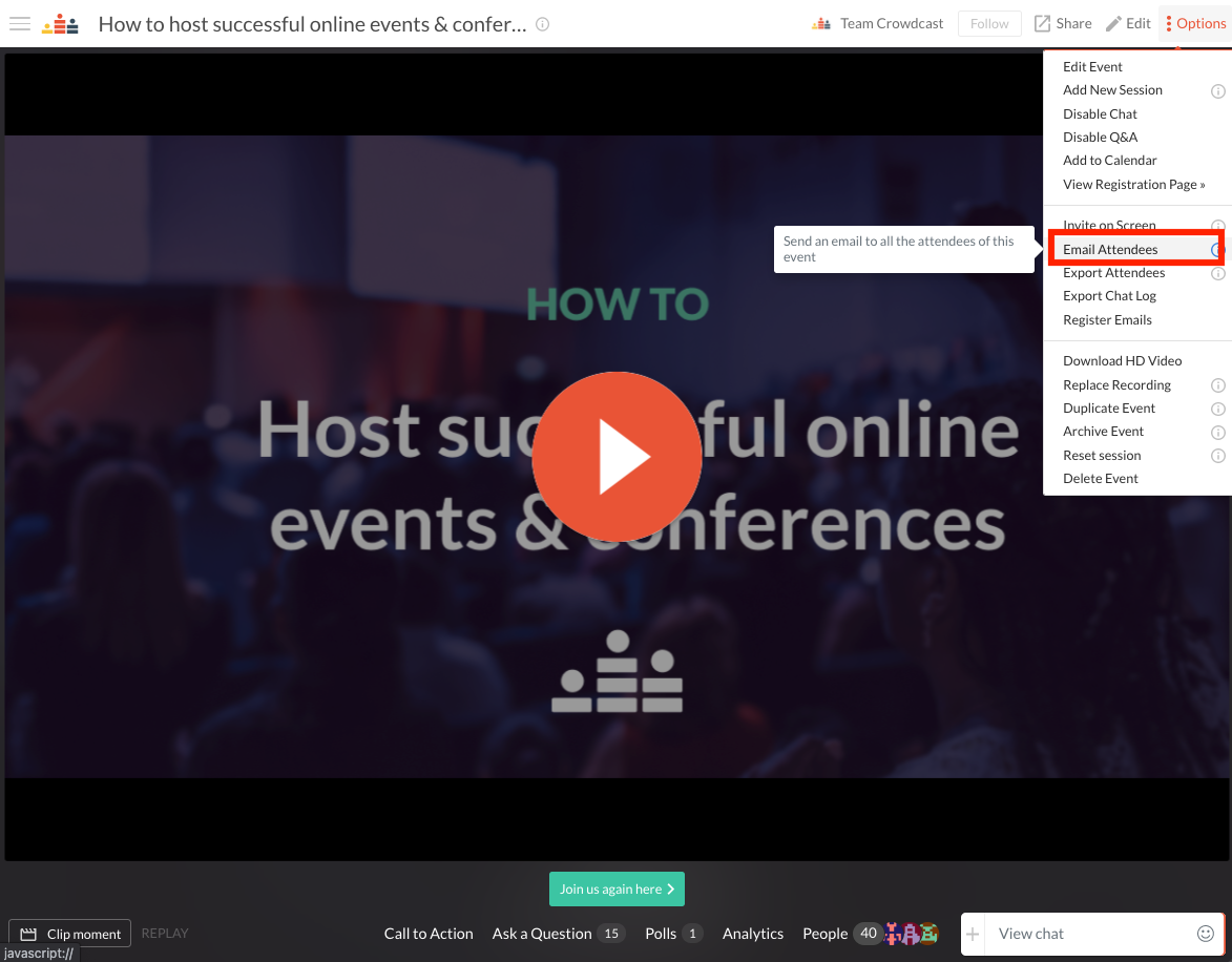 from the drop down menu, the option to email attendees will appear