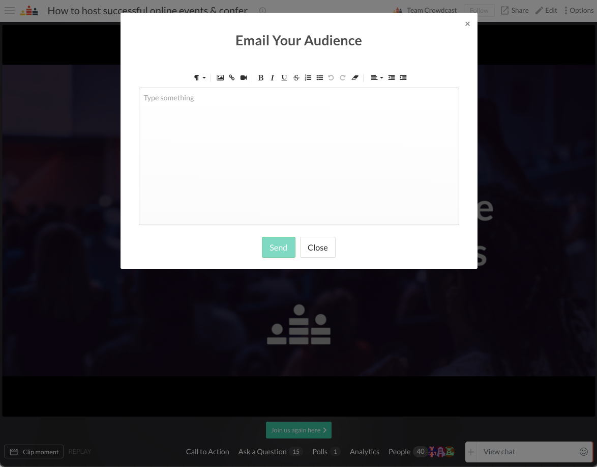 A pop-up to customize your email to your audience will appear on the screen