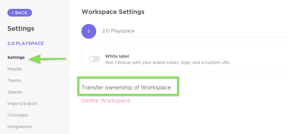 Screenshot of Workspace Settings page with Transfer ownership of Workspace option highlighted