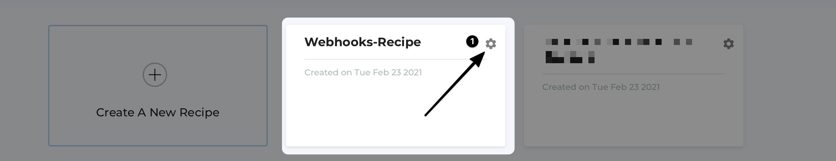 Select Recipe to Setup Webhooks