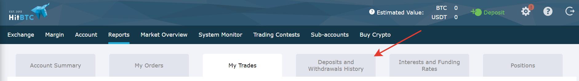 Trouver et télécharger son historique de transactions HitBTC