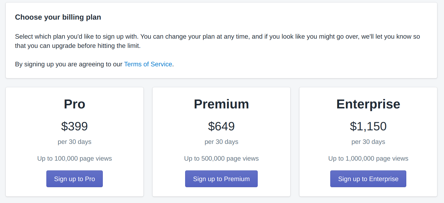 A display of the billing page with 3 possible billing plans