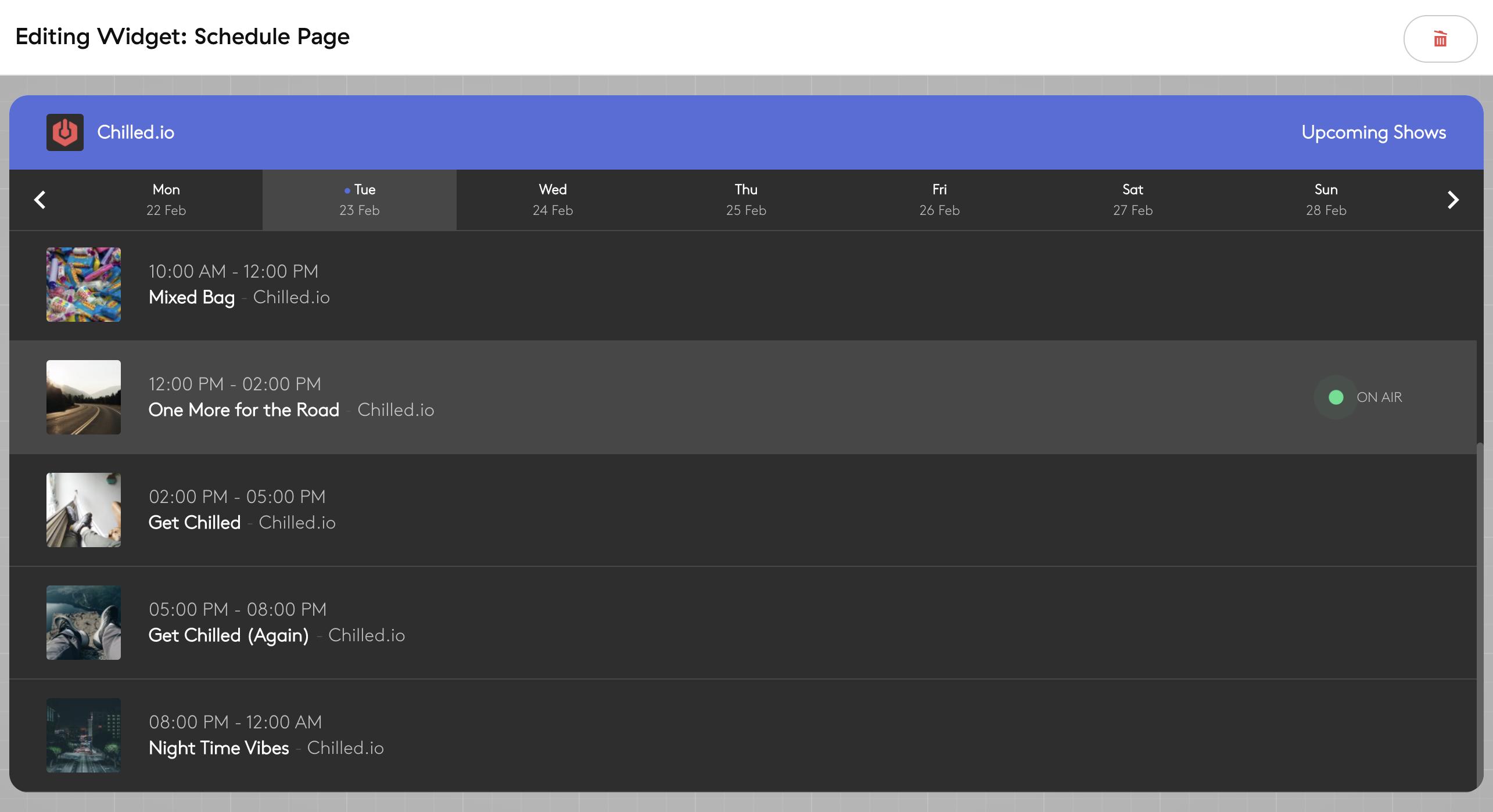 Schedule widget preview