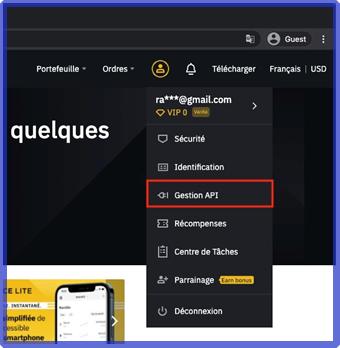 Cliquez sur votre profil puis sur Gestion API