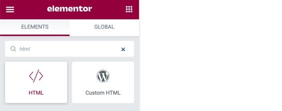Add an HTML element with WordPress Elementor plugin