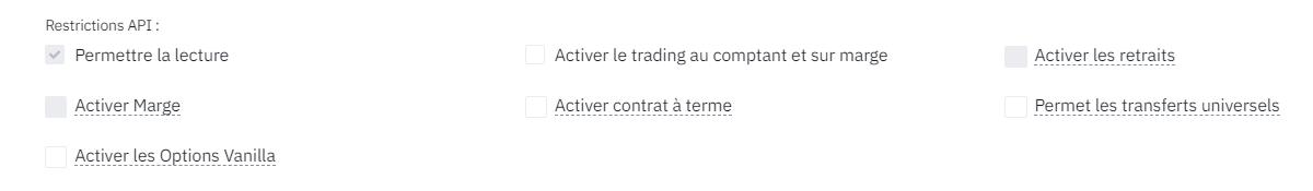 Cliquez sur Permettre le lecture et décocher la case Activer le trading au comptant et sur marge