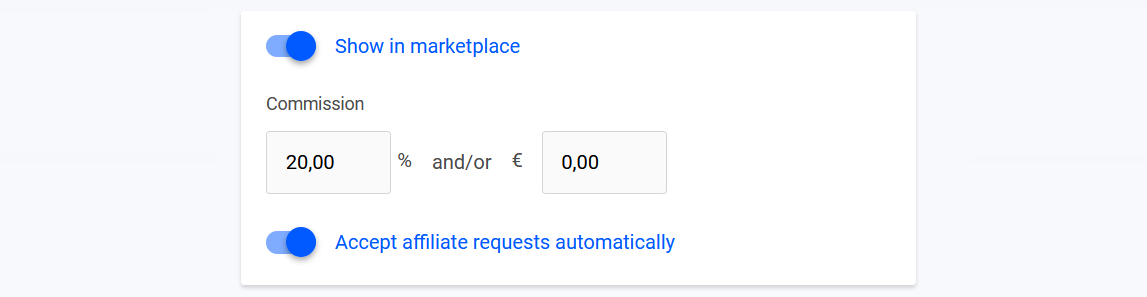 Commission rate and product visibility settings