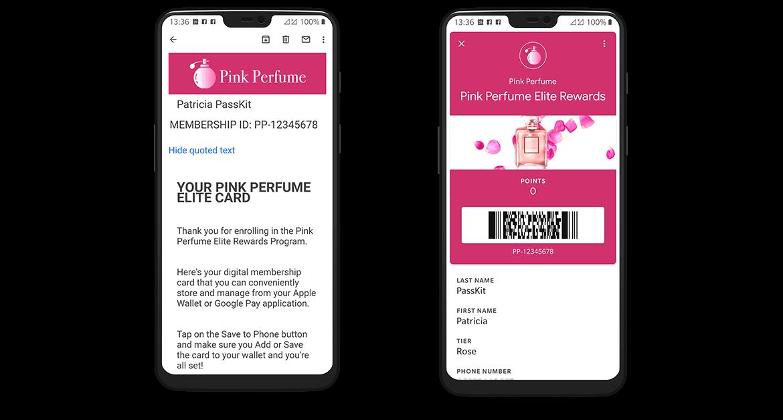 Membership email and digital membership card in Android