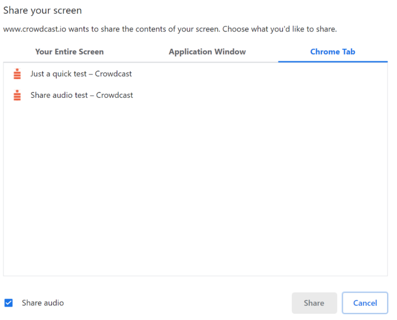 Screenshot of the different screenshare options with Chrome Tab highlighted.