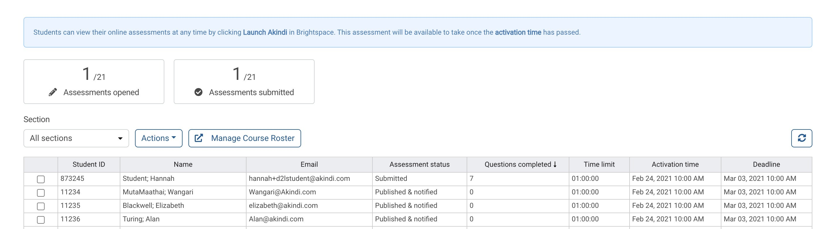 Online assessment status