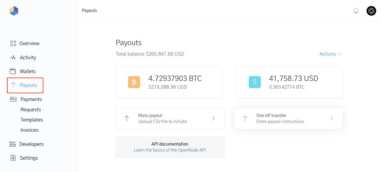 Image of payouts in the OpenNode Dashboard